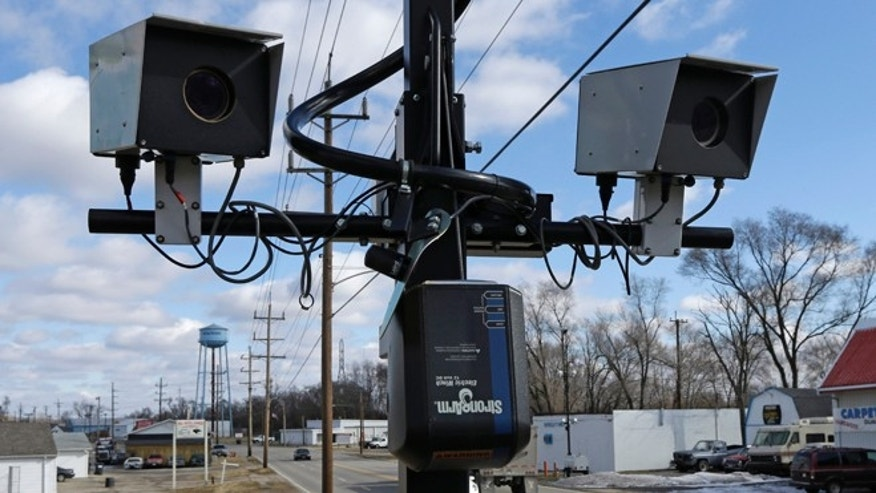 Feb. 25, 2014 : This photo shows speed cameras aimed at U.S. Route 127 in New Miami, Ohio.