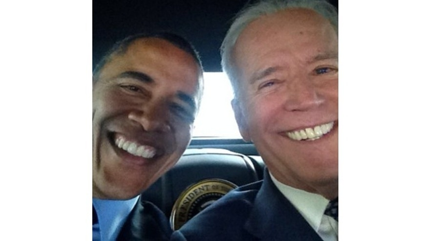 Vice President Joe Biden snapped the selfie with President Obama in what appears to be the back of a presidential motorcade.