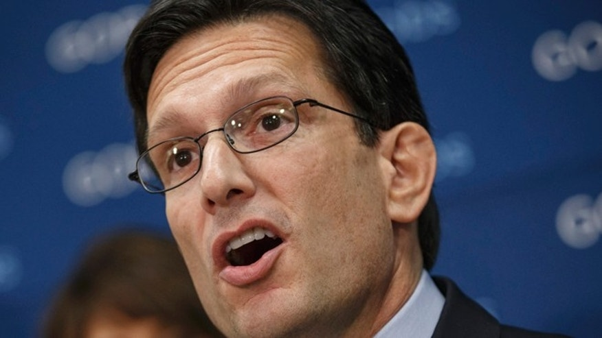 FILE: Jan. 14, 2014: House Majority Leader Eric Cantor, R-Va., speaking on Capitol Hill, in Washington, D.C.