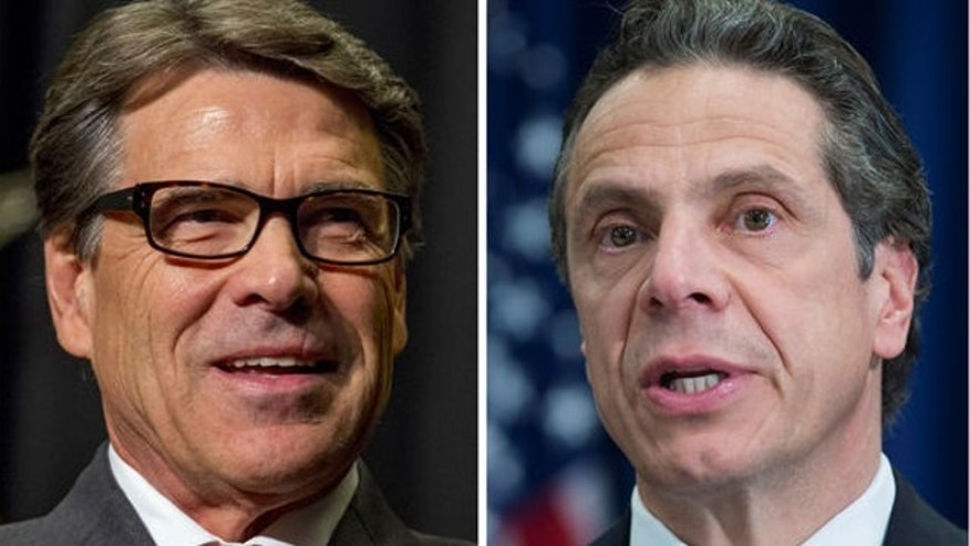 UNDATED: This photo combo shows Texas Gov. Rick Perry, left, and New York Gov. Andrew Cuomo. Perry is countering Cuomo's latest initiative to lure businesses from out of state with a renewed bid to snag jobs from New York.