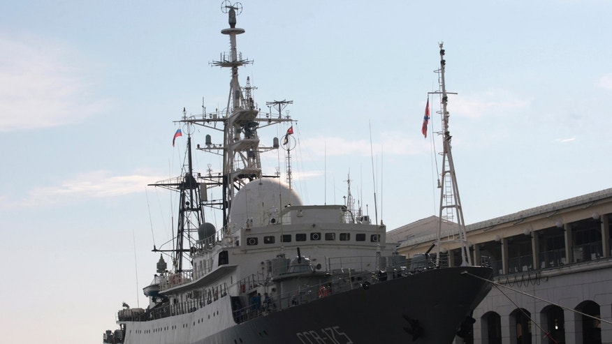 Feb. 27, 2014: A Russian spy ship Viktor Leonov SSV-175, is seen docked at a Havana port.