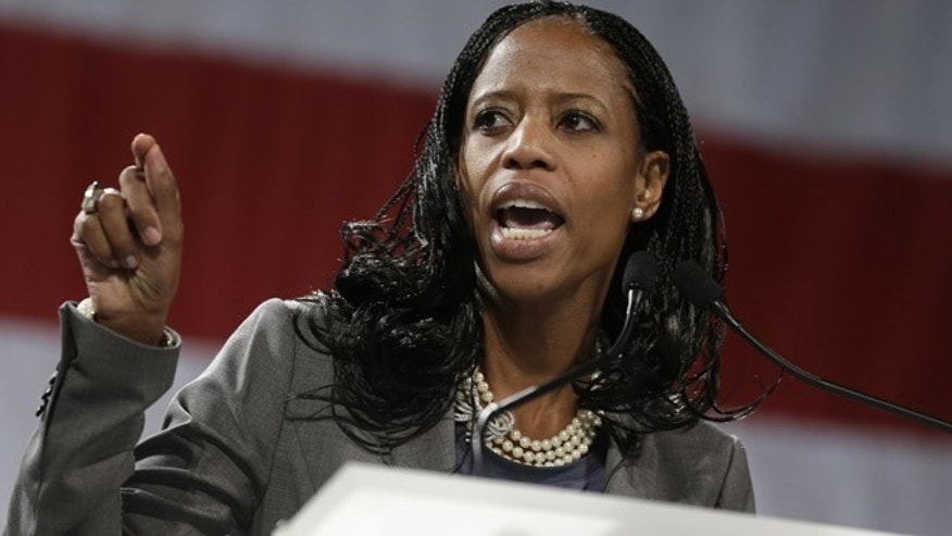 Apr. 26, 2014: Mia Love speaks during the Utah Republican Party nominating convention.