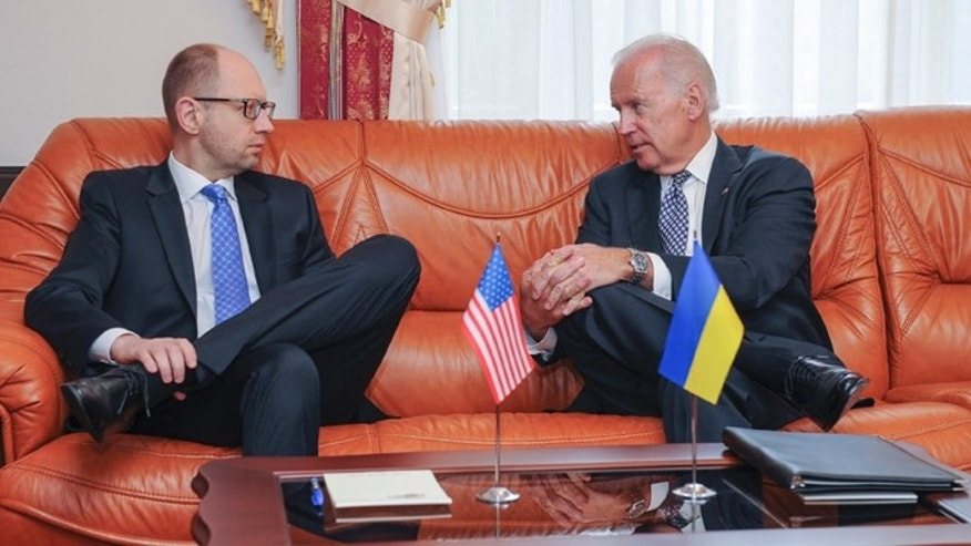 April. 22, 2014: Vice President  Joe Biden, right, talks with Ukrainian Prime Minister Arseniy Yatsenyuk during a meeting in Kiev, Ukraine.
