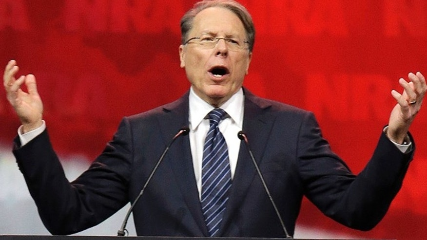 April 25, 2014: National Rifle Association (NRA) Executive Vice President and Chief Executive Officer Wayne LaPierre speaks during the leadership forum at the National Rifle Association's annual convention in Indianapolis.