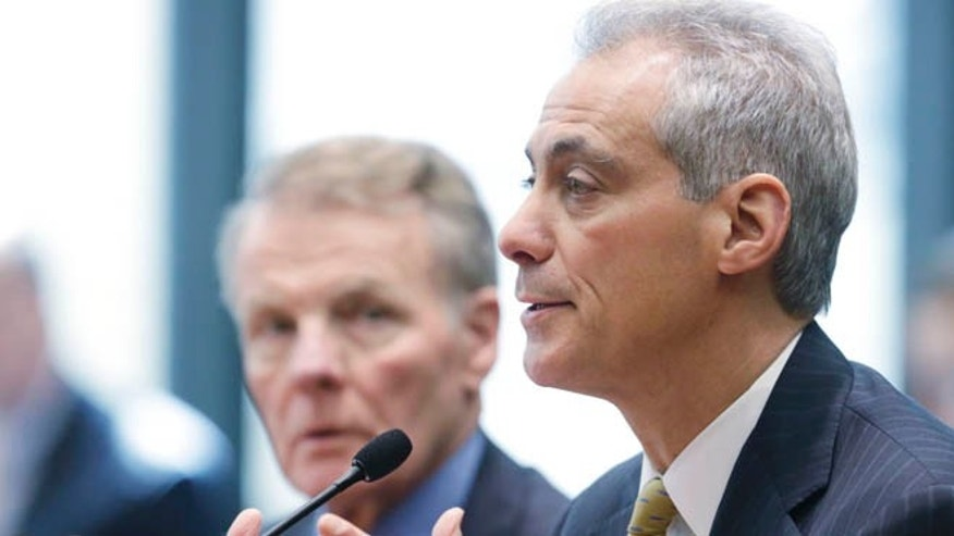 April 17, 2014: Chicago Mayor Rahm Emanuel appears before an Illinois House committee meeting in Chicago.