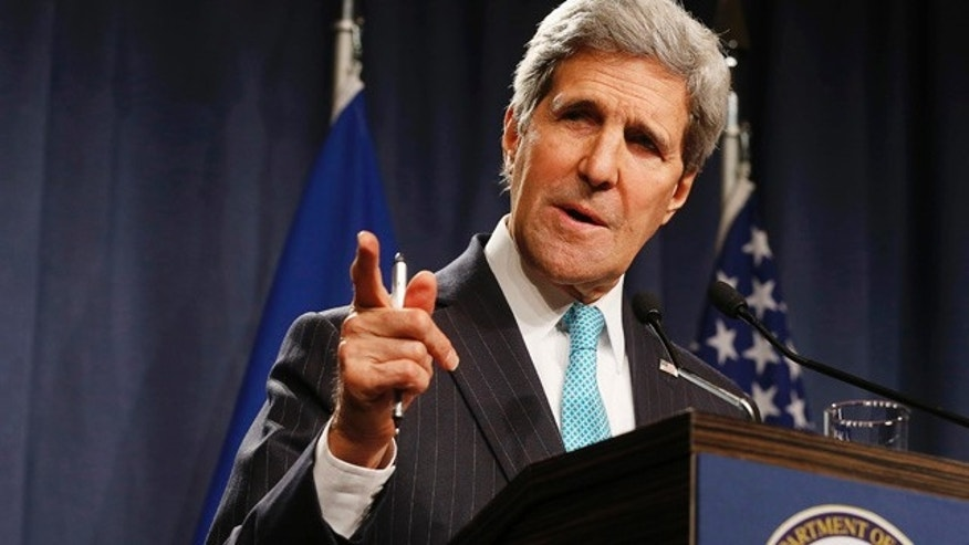April 17, 2014: Secretary of State John Kerry speaks to the media after attending a quadrilateral meeting.