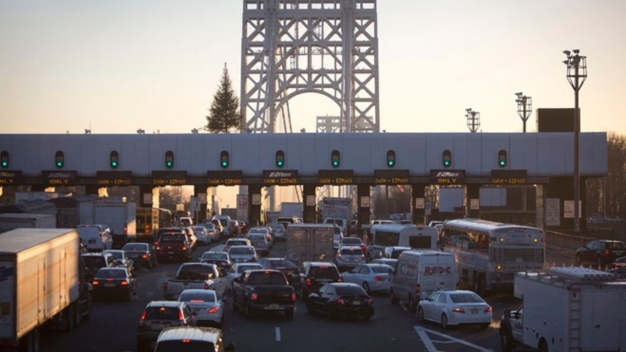 The George Washington Bridge toll booths.
