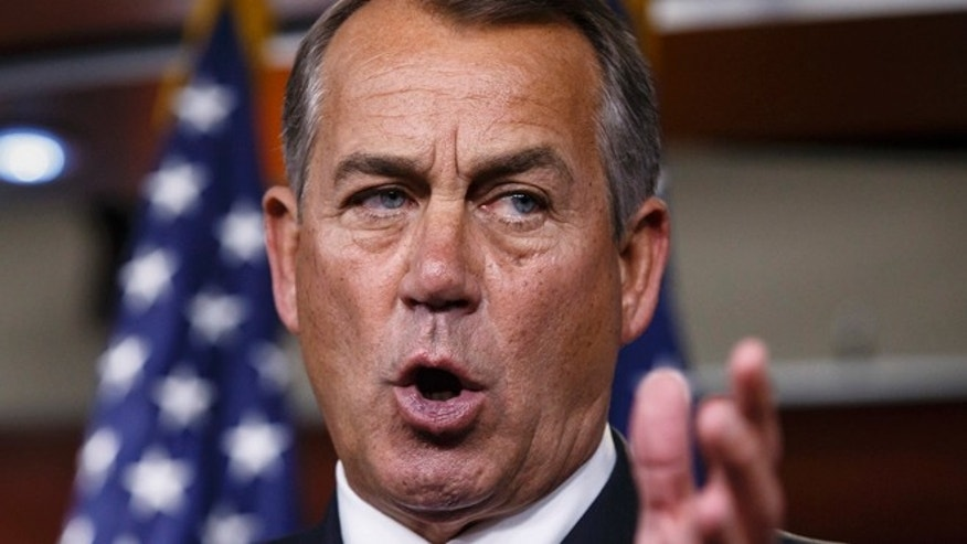March 26, 2014: House Speaker John Boehner of Ohio speaks during a news conference on Capitol Hill in Washington.