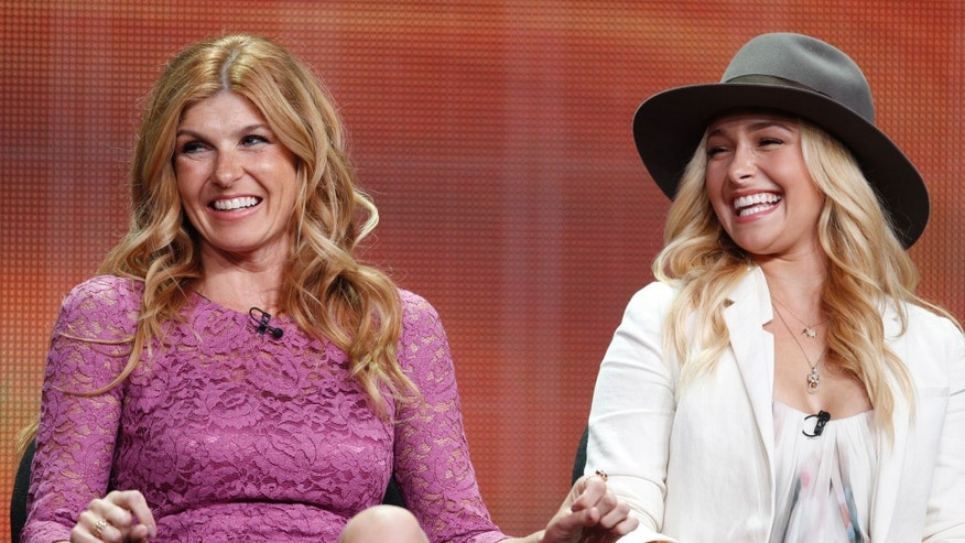 "Actresses Connie Britton, left, and  Hayden Panettiere, two of the stars of the new drama series ""Nashville""  speak during a panel discussion."