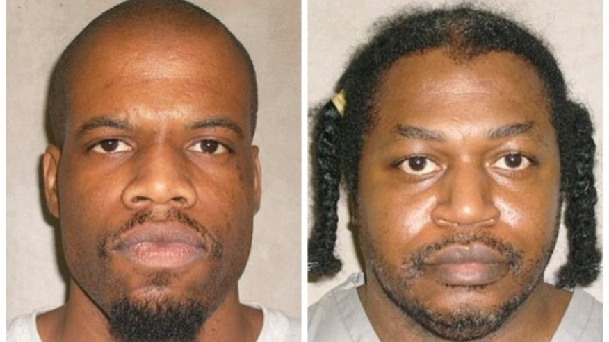 FILE - This file photo combo of images provided by the Oklahoma Department of Corrections shows Clayton Lockett, left, and Charles Warner. (AP Photo/Oklahoma Department of Corrections, File)