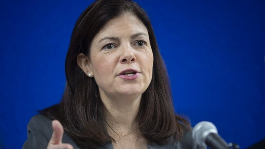 Mar. 22, 2014: U.S. Sen. Kelly Ayotte gestures during a press conference at the American Embassy in Kabul, Afghanistan.