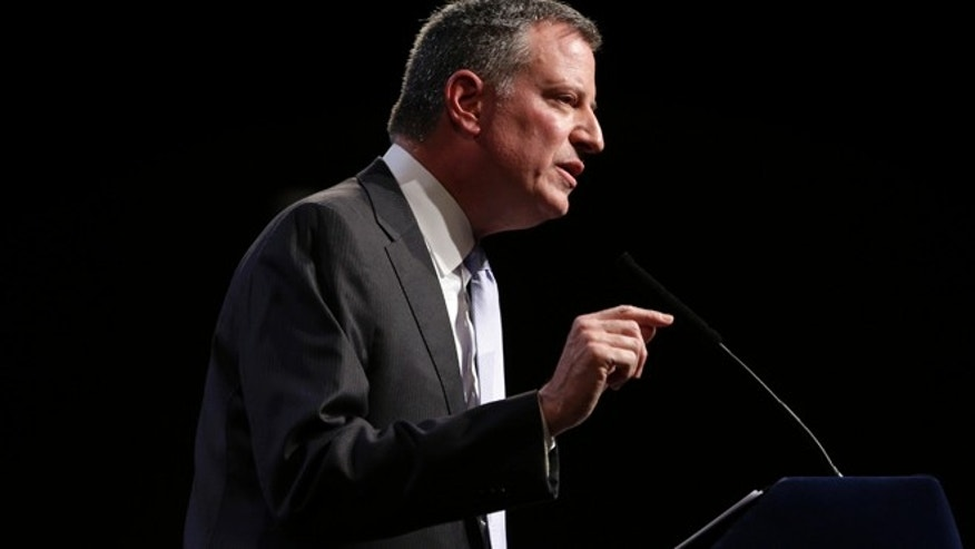 April 10, 2014: New York City Mayor Bill de Blasio speaks at Cooper Union in New York.