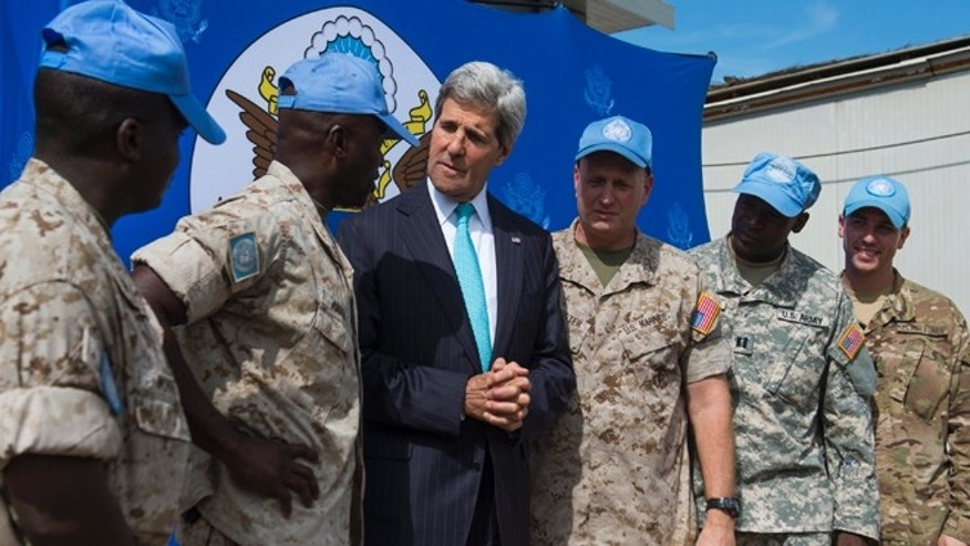 May 2, 2014: U.S. Secretary of State John Kerry speaks with members of the U.S. military working with the United Nations at the United Nations Mission in South Sudan (UNMISS) base in Juba.