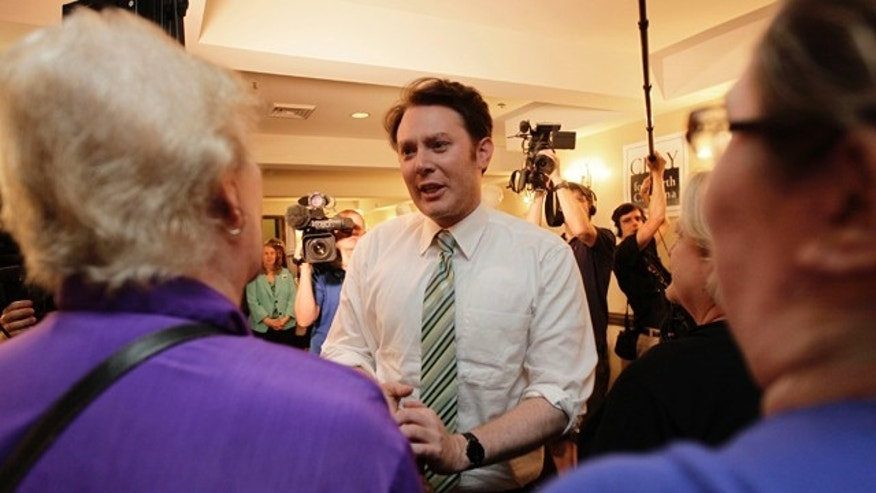 May 6, 2014: Clay Aiken speaks to supporters during an election night watch party in Holly Springs, N.C.