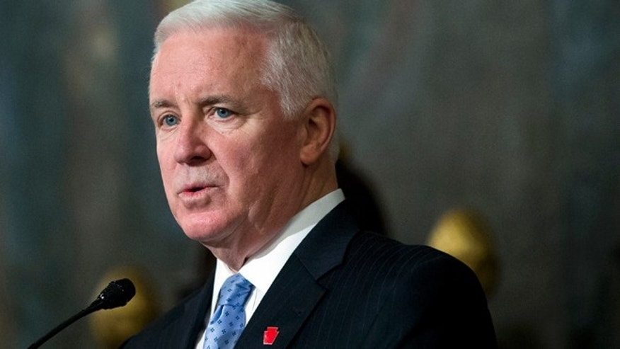 Feb. 4, 2014: Republican Pennsylvania Gov. Tom Corbett speaks in Harrisburg, Pa.