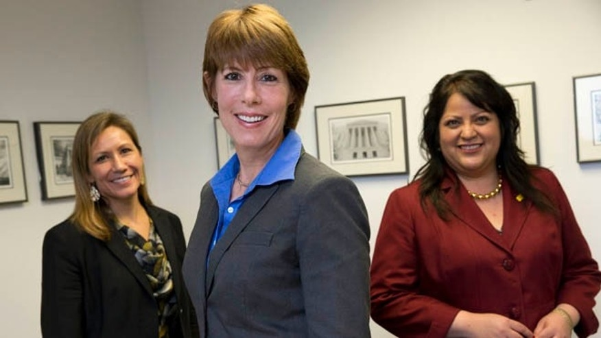 FILE: April 30, 2014: Democratic House candidates Amanda Renteria, Calif., Gwen Graham, Fla., Roxanne Lara, N.M., in Washington, D.C.