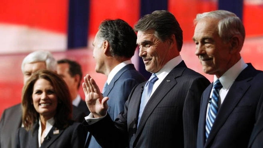 Sept. 7, 2011: The candidates at the Reagan Centennial GOP presidential primary debate, in Simi Valley, California.