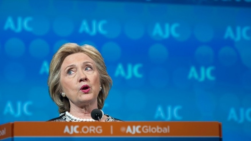 May 14, 2014: Former Secretary of State Hillary Rodham Clinton addresses the American Jewish Committee Global Forum closing plenary in Washington.