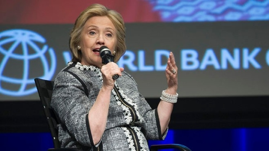 Former Secretary of State Hillary Clinton at World Bank headquarters in Washington, Wednesday, May 14, 2014.