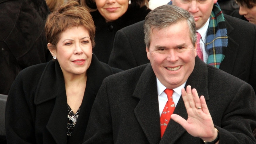 Florida Gov. Jeb Bush and his wife Columba on the inaugural stage January 20, 2005 in Washington, D.C.