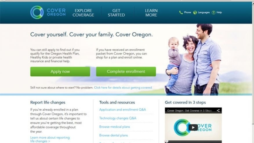 May 5, 2014: Screen grab from Cover Oregon's website.
