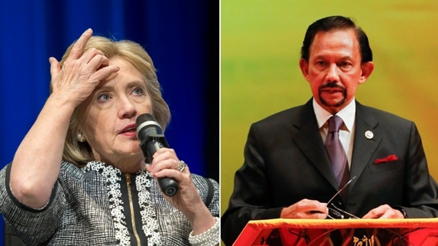 In 2002, the Clinton Foundation received at least $1 million from the government of Brunei, whose Sultan Hassanal Bolkiah, right, has been the target of a growing boycott since the tiny Southeast Asian nation embraced a strict new Islamic criminal code.