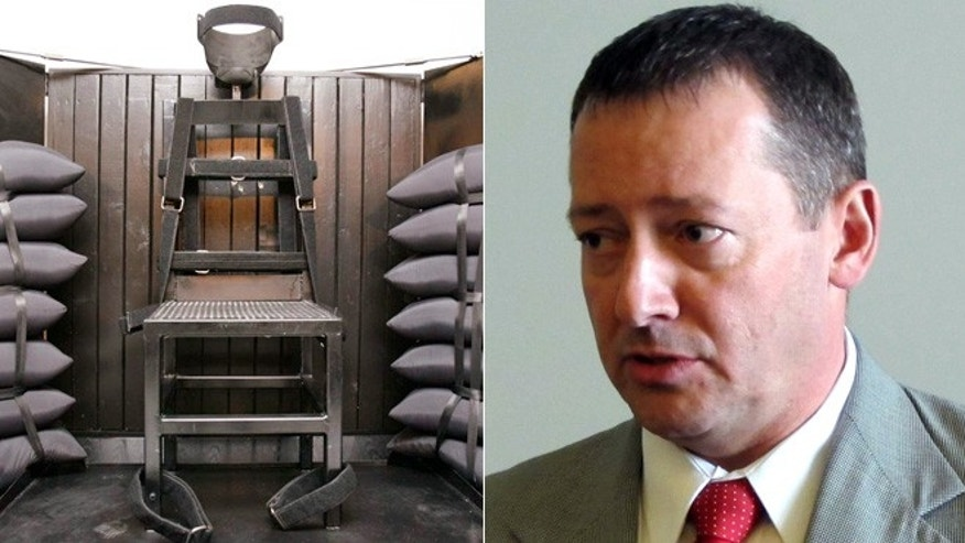Rep. Paul Ray, R-Clearfield, right, says he believes a firing squad is a more humane form of execution. Pictured left is the execution chamber at the Utah State Prison.