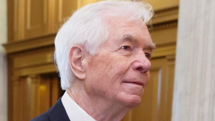 May 14, 2014: Sen. Thad Cochran, R-Miss., arrives at the Senate chamber for a vote on Capitol Hill in Washington.