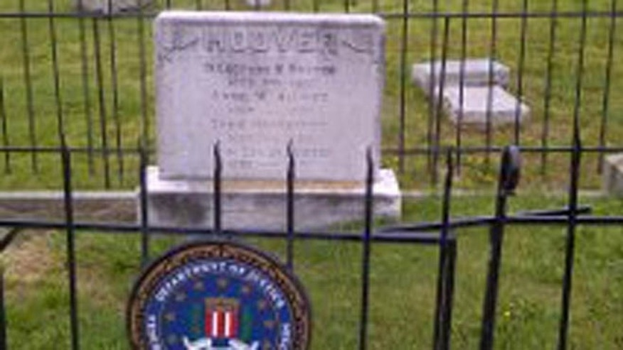May 14, 2014: The headstone of J. Edgar Hoover, the first FBI director, at the Congressional Cemetery, Washington, D.C.