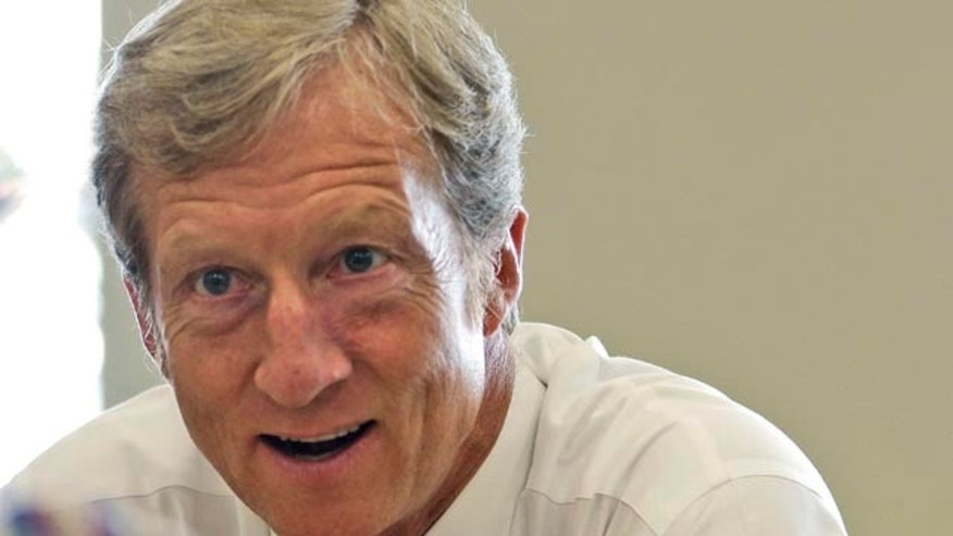 FILE - In this Sept. 25, 2013, file photo, businessman Tom Steyer talks during a meeting to announce the launch of a group called Virginians for Clean Government at Virginia Commonwealth University in Richmond, Va. (AP Photo/Steve Helber, File)