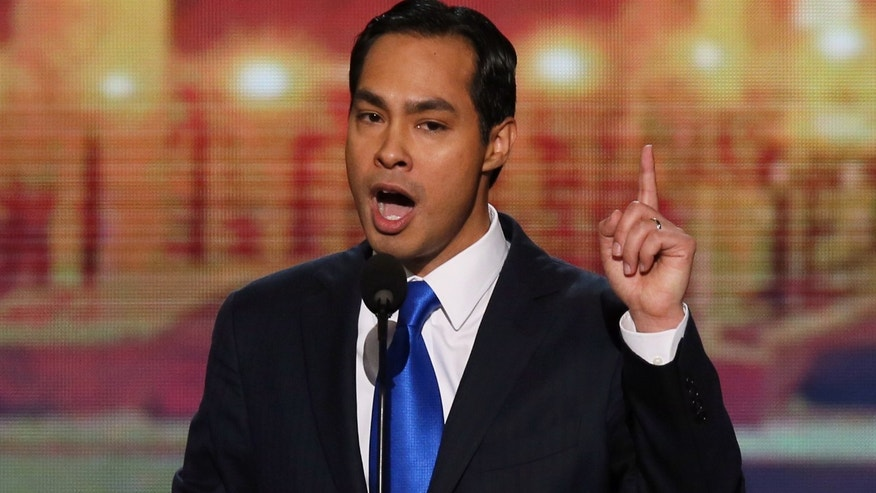 CHARLOTTE, NC - SEPTEMBER 04:  San Antonio Mayor Julian Castro gives the keynote address on stage during day one of the Democratic National Convention at Time Warner Cable Arena on September 4, 2012 in Charlotte, North Carolina.