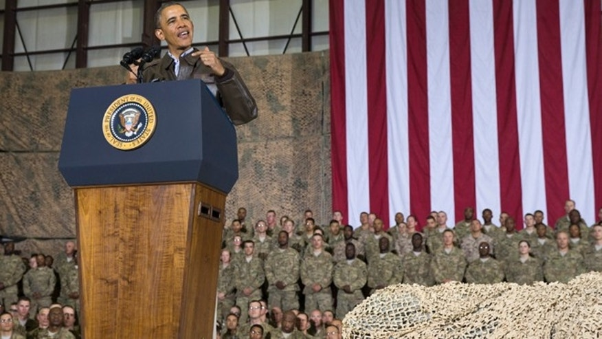 May 25, 2014: President Barack Obama speaks during a troop rally after arriving at Bagram Air Field for an unannounced visit, north of Kabul, Afghanistan.