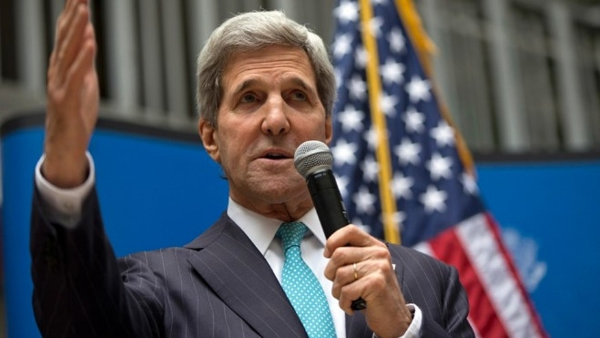 May 21, 2014: U.S. Secretary of State John Kerry speaks to U.S. Embassy employees in Mexico City. (AP)