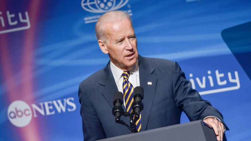 WASHINGTON, DC - MAY 02: U.S Vice President Joe Biden speaks during the 2nd Annual Creativity Conference presented by the Motion Picture Association of America at The Newseum on May 2, 2014 in Washington, DC. (Photo by Kris Connor/Getty Images)