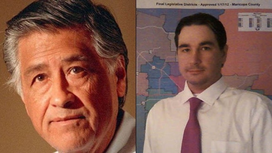 Shown at left is the original Cesar Chavez, the late leader of the United Farm Workers Union. At right is congressional candidate Cesar Chavez, formerly Scott Fistler.