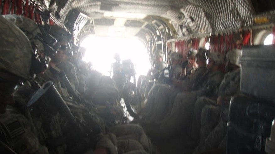This photo purportedly shows soldiers on their way to a location looking for Bowe Bergdahl, several days after he disappeared in 2009.