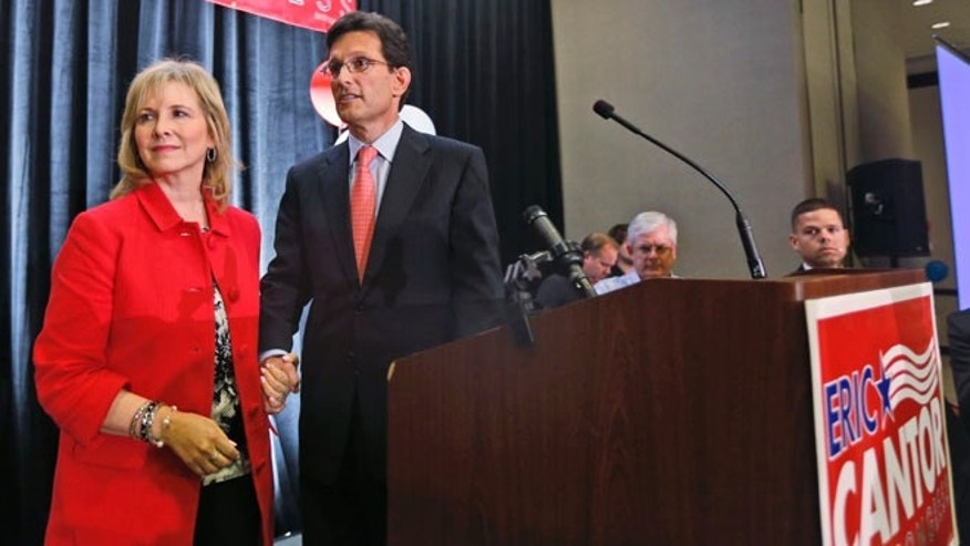 House Majority Leader Eric Cantor, R-Va., and his wife, Diana, leave the stage after his concession speech in Richmond, Va., Tuesday, June 10, 2014.