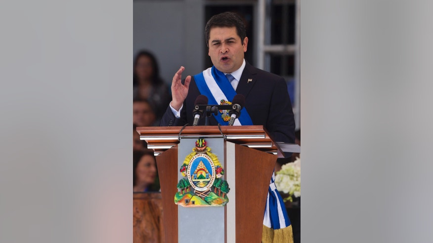 Honduras' President Juan Orlando Hernandez after his swearing in on Monday, Jan. 27, 2014.