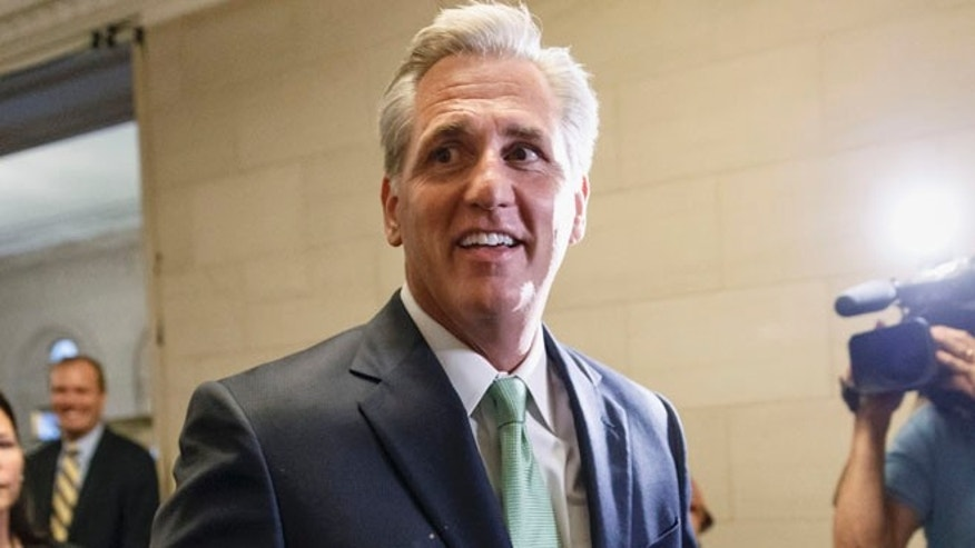 House Majority Whip Kevin McCarthy of Calif., arrives for GOP leadership elections, on Capitol Hill in Washington, Thursday, June 19, 2014.