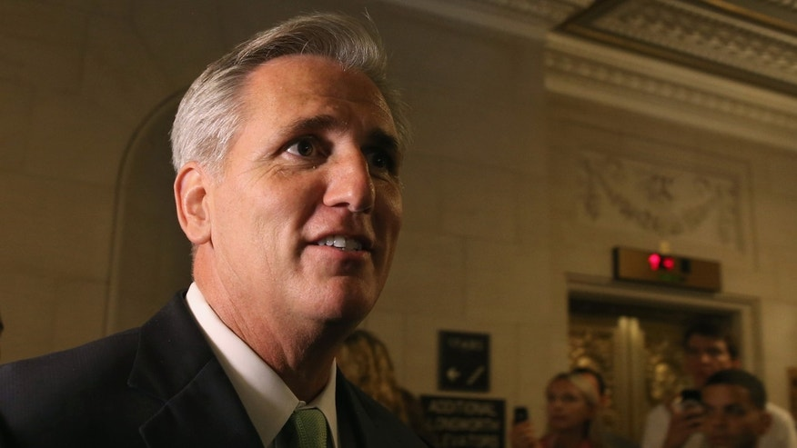 WASHINGTON, DC - JUNE 19: Newly elected House Majority Leader Rep Kevin Mccarthy (R-CA) walks out of a House Republican Conference meeting June 19, 2014 on Capitol Hill in Washington, DC. House GOPs elected McCarthy to replace Rep. Eric Cantor stepped down after losing his Virginia primary. (Photo by Mark Wilson/Getty Images)