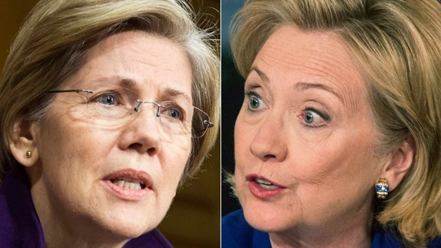 Sen. Elizabeth Warren, left, and Hillary Clinton.
