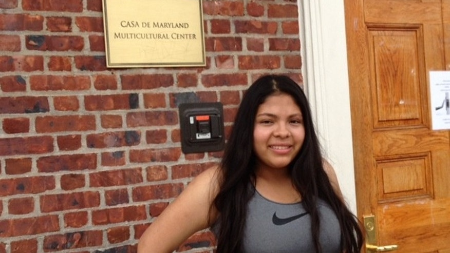 Nineteen year-old Cindy Monge is seen standing outside of Casa de Maryland.