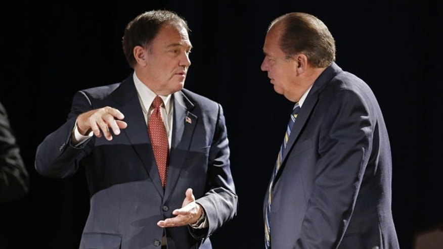July 13, 2014: Utah Gov. Gary Herbert, left, and West Virginia Gov. Earl Ray Tomblin, at the National Governors Association convention, Nashville, Tenn.