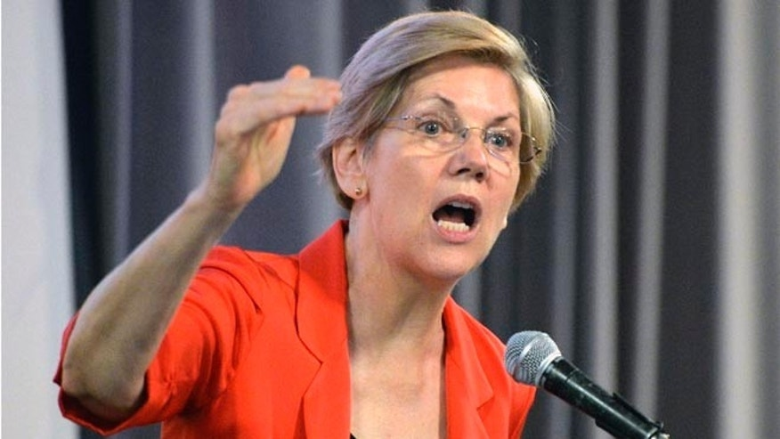 Democratic U.S. Sen. Elizabeth Warren, of Massachusetts speaks at a rally in support of Kentucky democratic candidate Alison Lundergan Grimes, Sunday, June 29, 2014 at the University of Louisville in Louisville, Ky.