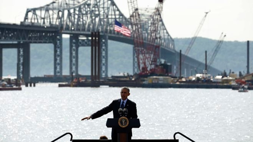 FILE: May 14, 2014: President Obama speaks on transportation infrastructure, near the Tappan Zee Bridge, Tarrytown, New York.
