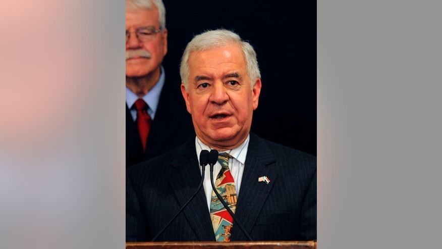 Rep. Nick J. Rahall speaks during a visit by him and his colleagues discussing bilateral relationships between Egypt and the U.S., in Cairo March 15, 2012. (REUTERS/Esam Al-Fetori)