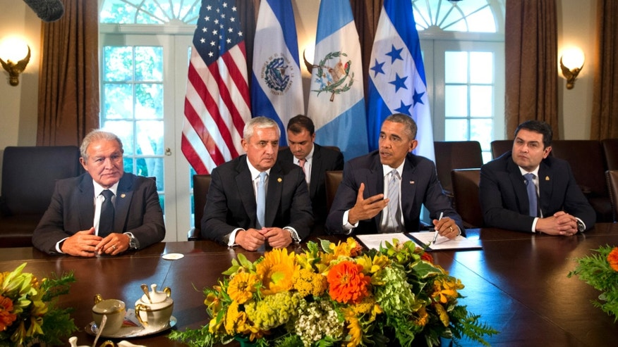 President Obama in meeting with the presidents of El Salvador, Honduras and Guatemala