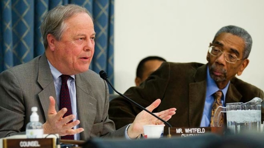 FILE: File: Feb. 3, 2012: Congressmen Ed Whitfield, R-Ky., left, and Bobby Rush, D-Ill., on Capitol Hill, in Washington, D.C.