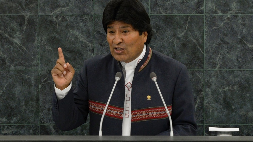 Bolivian President Evo Morales at the 68th United Nations General Assembly in September 2013 in New York City.