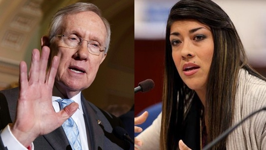 Left: Senate Majority Leader Harry Reid of Nev., speaks to reporters on Capitol Hill, Tuesday, July 15, 2014 (AP Photo/J. Scott Applewhite); Right: Nevada assemblywoman Lucy Flores (AP Photo).